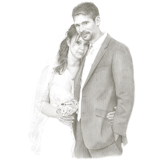 Pencil portrait of Jamie and Natalie