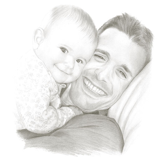 Pencil portrait of Lola and Rafa