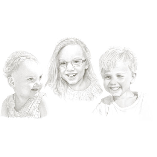 Pencil portrait of Nick's family