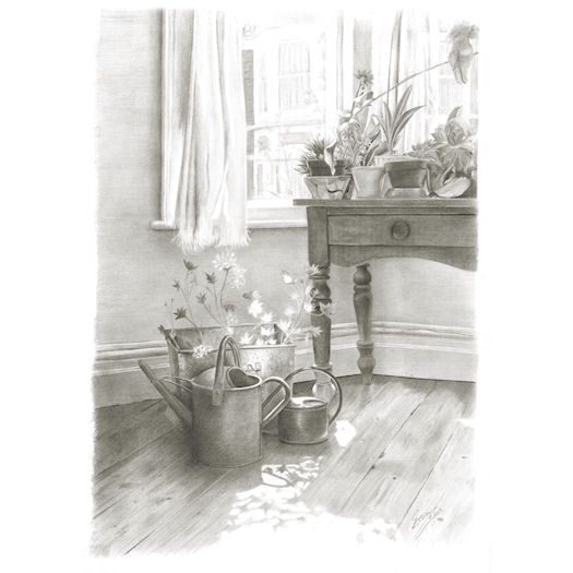 Pencil portrait of Sarah's room